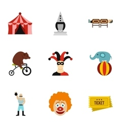 Circus performance icons set flat style vector