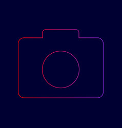 Digital camera sign  line icon with vector