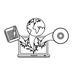Figure computer with technological icons outside vector