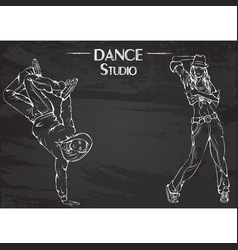Dance line chalk streen dance vector
