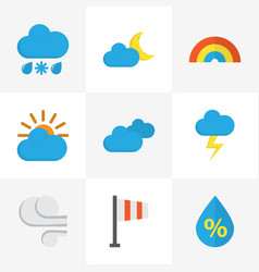 Climate flat icons set collection of the flash vector