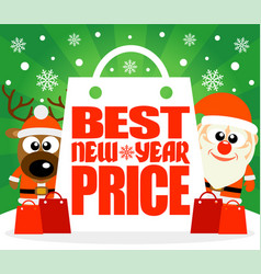 Best new year price card with deer and santa vector