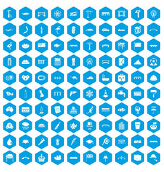 100 bridge icons set blue vector