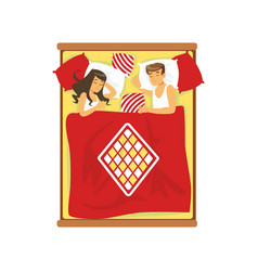 Young couple sleeping on the bed vector