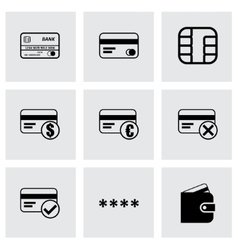 Black credit card eyes icons set vector