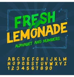 Alphabet and numbers - fresh lemonade vector