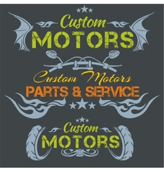 Custom motors - emblem set vector