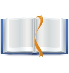 Blue open book with a bookmark vector