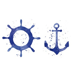 Watercolor of an anchor and a steering wheel vector