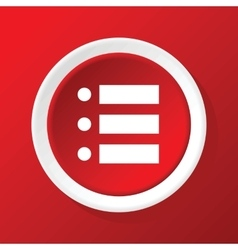 Dotted list icon on red vector