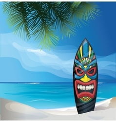 Tiki warrior mask design surfboard on ocean beach vector