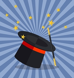 Magician hat with magician wand vector