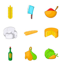 Baguette icons set cartoon style vector