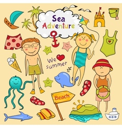 Beach set in doodle style vector image vector image
