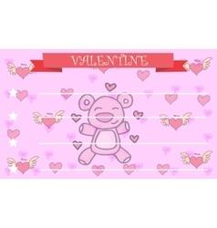 Bear background greeting card valentine vector