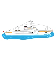 Big white ship vector
