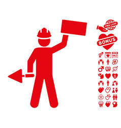 Builder with brick icon with lovely bonus vector