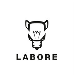 bulb and wolf abstract icon vector image