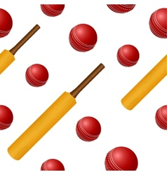 Cricket ball bat seamless backgroung vector