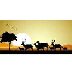 Deer family silhouette vector