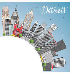Detroit michigan usa city skyline with gray vector