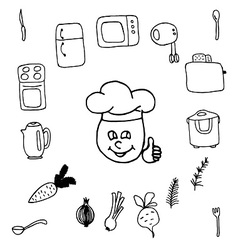 Doodle set of kitchen vector