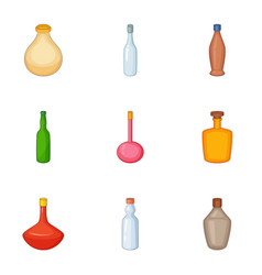 Empty glass bottle icons set cartoon style vector