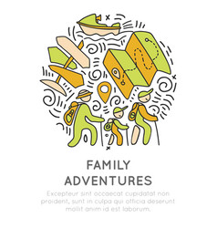 family adventure and outdoor activities hand draw vector image vector image