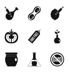 Gmo laboratory icon set simple style vector