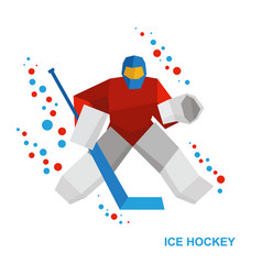 Goalkeeper with hockey-stick catches the puck vector