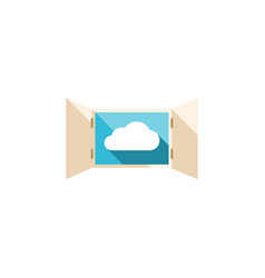 Isolated open flat icon cloud element can vector