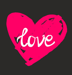 Love on pink heart with black background vector