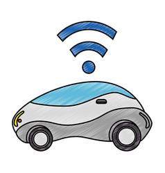 Modern car futuristic with wireless signal vector
