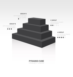 Pyramid cube infographic side view black color vector
