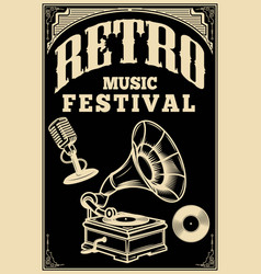 retro music festival poster template vintage vector image vector image
