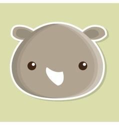 Rino animal cute little design vector