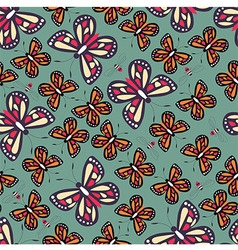 Seamless pattern with butterflies nature life vector