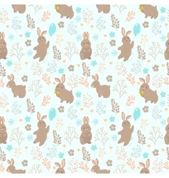 seamless pattern with rabbit and flower vector image vector image