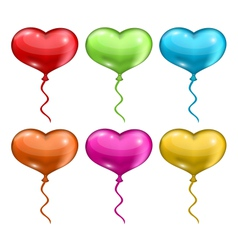 set colorful balloons in the shape of hearts vector image vector image