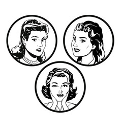 Set faces women comic outline design vector