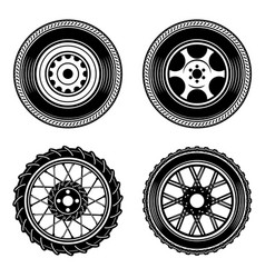 Set of car and motorcycle wheels icons design vector
