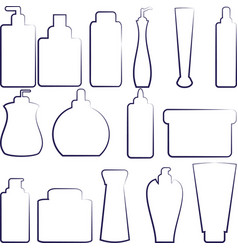 Set of separated outlined cosmetics bottles vector