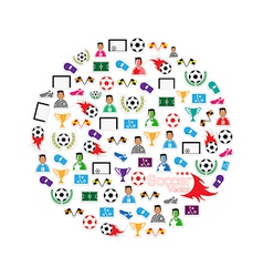 Soccer circle Icons set eps10 vector image