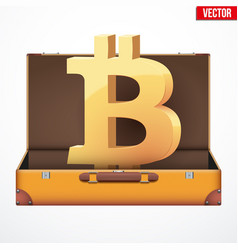 Suitcase with cryptocurrency vector