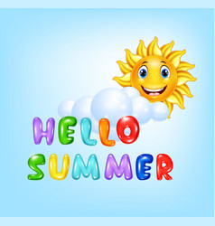 Summer background with happy sun cartoon vector
