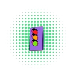 Traffic light icon comics style vector