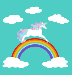Unicorn on rainbow vector