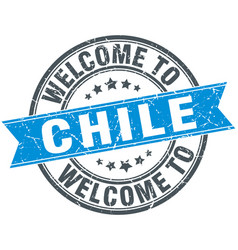 Welcome to chile blue round vintage stamp vector