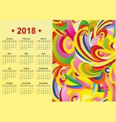 Yellow english calendar 2018 year vector
