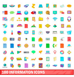 100 information icons set cartoon style vector image vector image